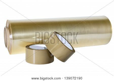 Packaging materials for production, warehouse, office. Adhesive tape and plastic film