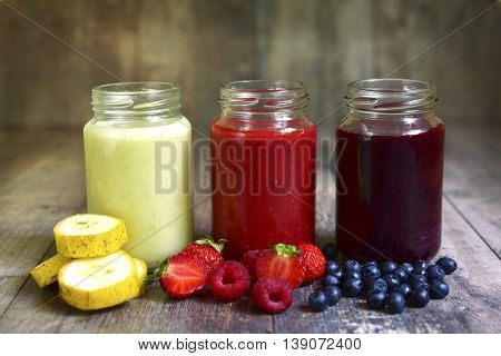 Three Portions Of Different Smoothies.