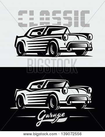 vector illustration of a retro cars emblem