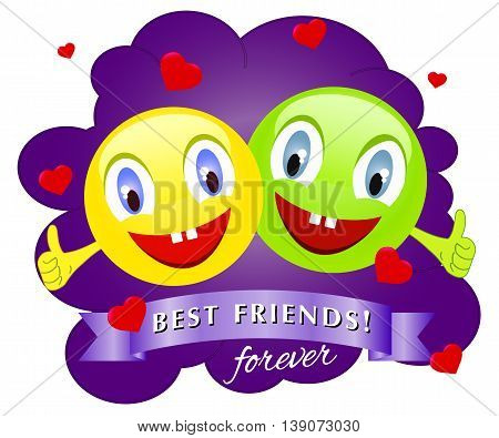 funny creatures with smiling heads with the raised fingers. Vector illustration of a happy friendship day
