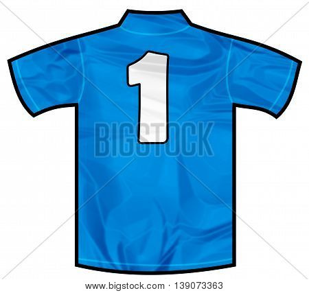 Number 1 one Blue sport shirt as a soccer, hockey, basket, rugby, baseball, volley or football team t-shirt. Like Italy or France national team