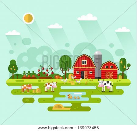 Flat design vector rural landscape illustration with farm building, barn, garden, beds of carrots, tomatoes, pumpkin, cows, ducks, chickens. Farming, agricultural, organic products concept.