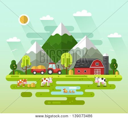 Flat design vector rural landscape illustration with farm building, barn, tractor, field, cow roaming on meadow, ducks, mountains. Farming, agricultural, organic products concept.