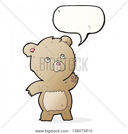 cartoon curious teddy bear with speech bubble
