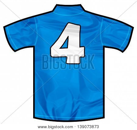 Number 4 four Blue sport shirt as a soccer, hockey, basket, rugby, baseball, volley or football team t-shirt. Like Italy or France national team
