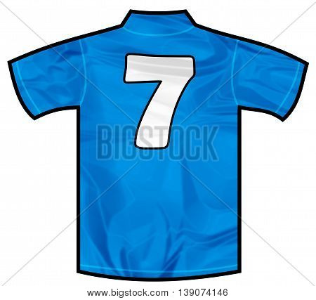 Number 7 seven Blue sport shirt as a soccer, hockey, basket, rugby, baseball, volley or football team t-shirt. Like Italy or France national team