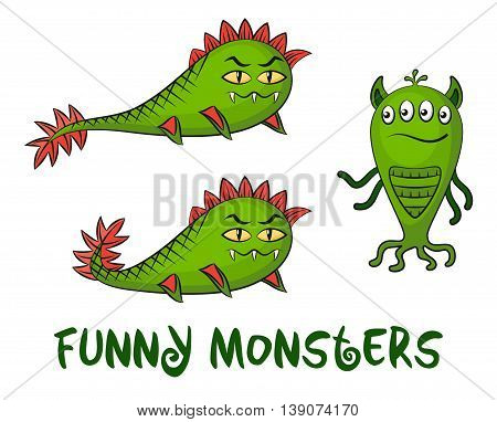 Set of Funny Cartoon Characters, Green Monsters, Elements for your Design, Prints and Banners, Isolated on White Background. Vector