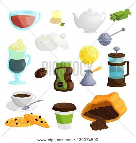 Tea icons set in cartoon style. Coffee set collection isolated vector illustration