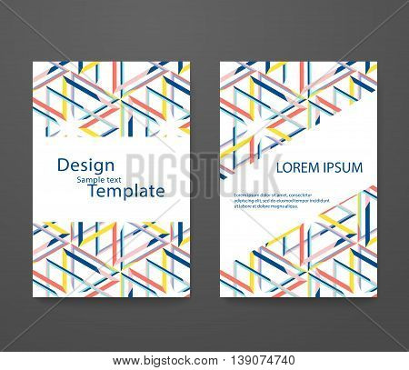 Business card with trendy colors. Flyer template set invitation collection vector design abstract elegant pattern for booklet layout.