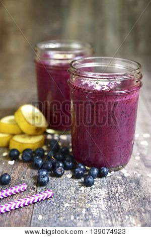 Two Portions Of Blueberry Banana Smoothies.