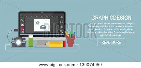 Graphic design vector banner. Computer pencil glue colour box and camera.
