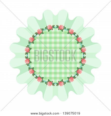Green napkin with ruffles in the style of shabby chic.Plaid fabric.Vector illustration with rosesarranged in a circle.