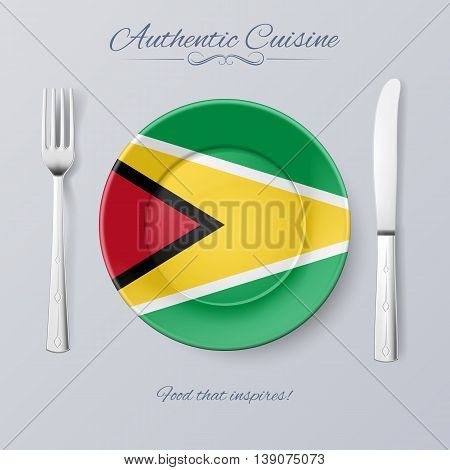 Authentic Cuisine of Guyana. Plate with Guyanese Flag and Cutlery