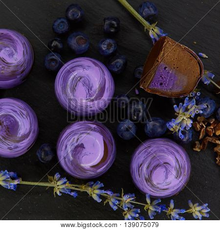 Set of chocolate candie with lavender, chocolate collection