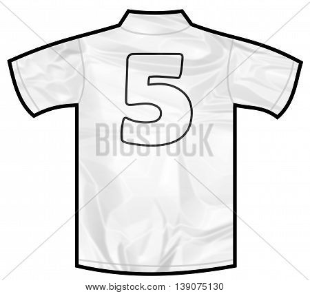 Number 5 five white sport shirt as a soccer, hockey, basket, rugby, baseball, volley or football team t-shirt. Like German or England or USA national team