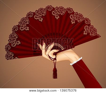 Female hand with open vintage fan isolated in brown colors. 3D illustration. Contains the Clipping Path