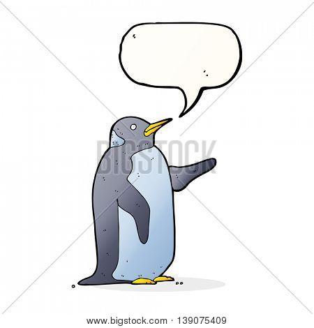 cartoon penguin with speech bubble