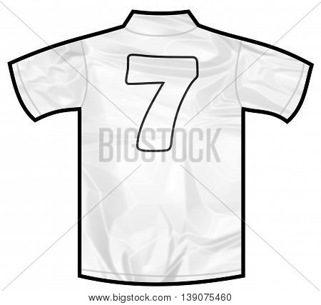 Number 7 seven white sport shirt as a soccer, hockey, basket, rugby, baseball, volley or football team t-shirt. Like German or England or USA national team