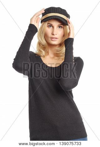 Portrait Of Woman On White Background Wearing Cap