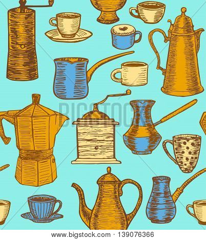 vector hand-drawn coffee colorful background with coffee pots cups cesves grinders