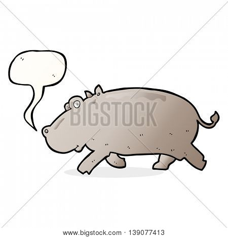 cartoon hippopotamus with speech bubble