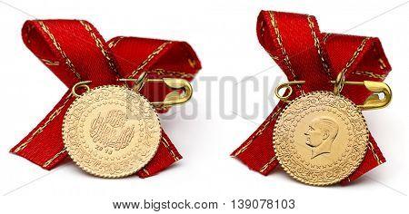 Quarter Turkish Gold Lira Both Sides