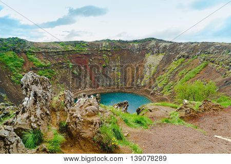 Kerid a lake filled volcanic crater in southwestern Iceland
