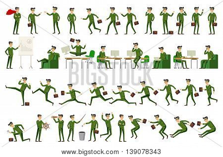 Large Vector Set Of Businessman Character Poses, Gestures And Actions. Office Worker Professional St