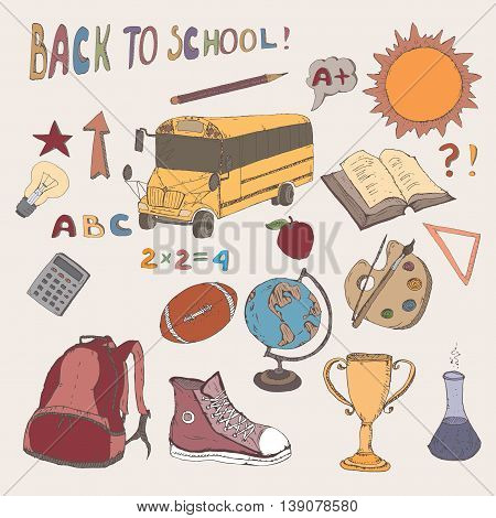 Color hand drawn school icons set with school bus, backpack, apple, school supplies, and more. Back to school concept. Vector Illustration.