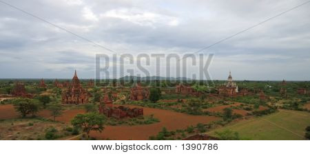 Landscape Of The Valley With The Temples And Stupas, Bagan, Myanmar, Panorama