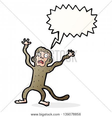 cartoon frightened monkey with speech bubble