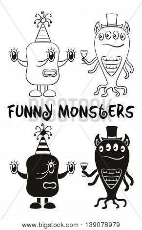 Set of Cute Different Cartoon Monsters with a Drink, Characters in Holiday Caps, Elements for your Design, Prints and Banners, Black Contour and Silhouette. Vector