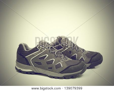 Walking  Shoes Isolated On The Gray Backgroun