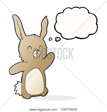 cartoon happy rabbit with thought bubble