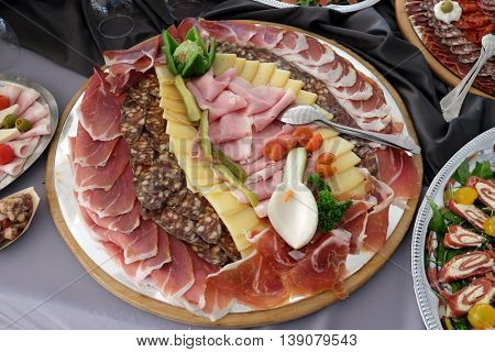 Classic Croatian starter plate with Fine Croatian ham, sliced salami and cheese