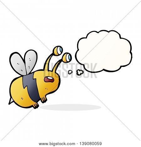 cartoon frightened bee with thought bubble