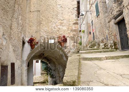 A glimpse of the alleys of the village of Artena Lazio in Italy
