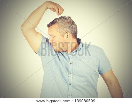 Fat Man, Smelling Sniffing His Armpit, Something Stinks Bad, Foul Odor