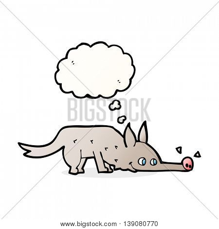 cartoon dog sniffing floor with thought bubble