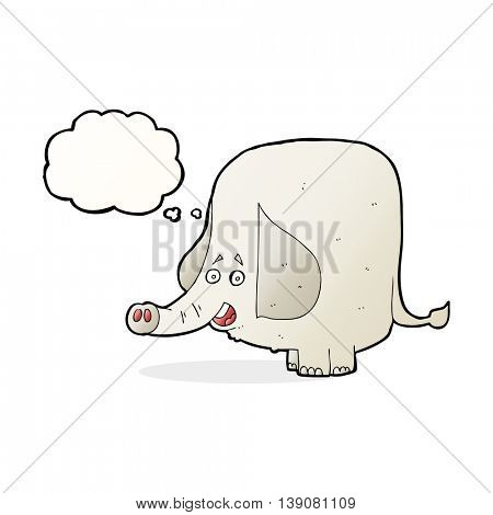 cartoon happy elephant with thought bubble