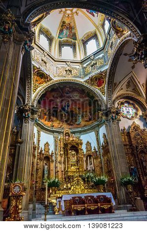 Interior Of San Juan Bautista Parish In Coyoacan, Mexico.