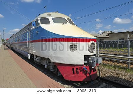 MOSCOW, RUSSIA - JUNE 23, 2016: Museum of Railway Transport of the Moscow railway Russia's first high-speed train series ER-200 was created at the Riga Electric Machine Building Works from 1965 - 1974