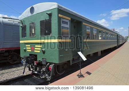 MOSCOW, RUSSIA - JUNE 23, 2016: Museum of Railway Transport motorwagon rolling stock (electric train) three wagon section CP3 (