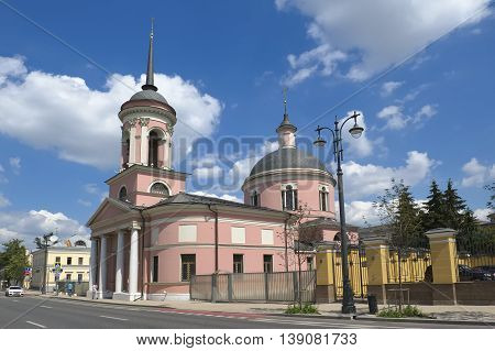 MOSCOW, RUSSIA - JUNE 23, 2016: View of the city. Temple of the Iberian Icon of the Mother of God on the Vspolye (St. George the Victorious) Bolshaya Ordynka street 39
