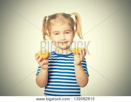 Little Funny Girl Keeps Lemons