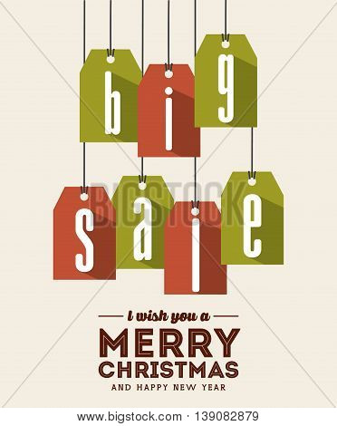 Merry Christmas concept represented by sale label icon. Colorfull and flat illustration.