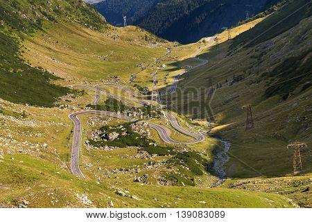 Summer morning landscape of Transfagarasan mountain road