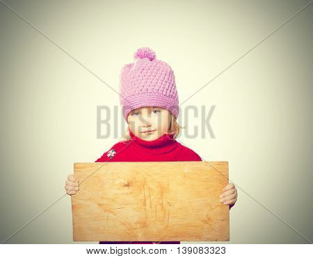 Little Girl Holding Board For Text.