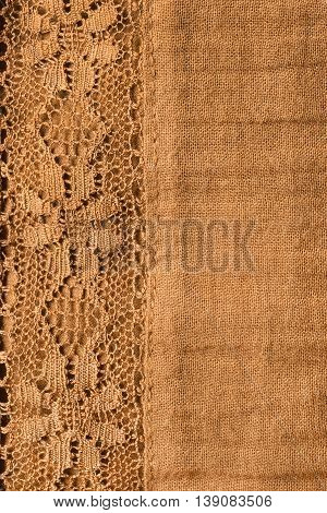 Yellow lacy cloth closeup as a background