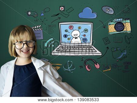 Science Adorable Child Smile Nerd Concept